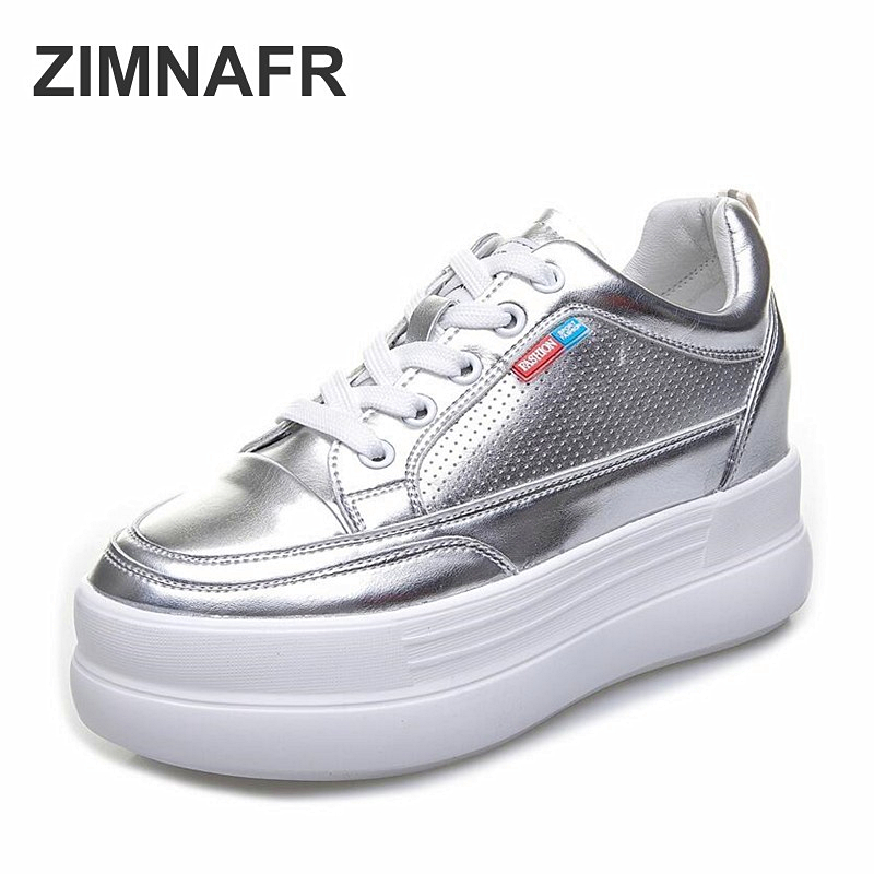 2020 Spring New Women Casual Shoes 8cm Heel Thick Bottomed  Casual Sports Platform Shoes Women Fashion Sneakers
