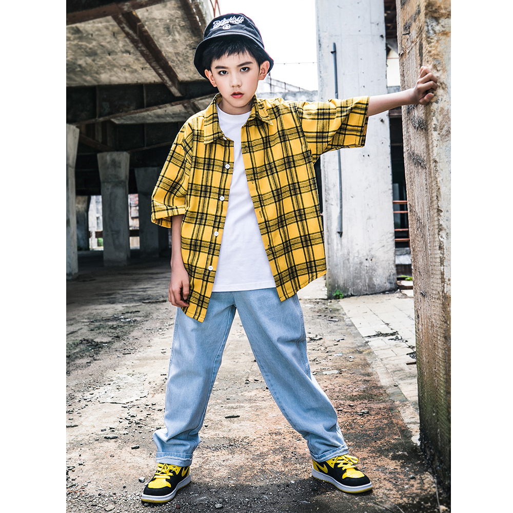 Boys Hip Hop Costume Kids Jazz Street Dance Wear Children Stage Performance Dancing Outfits Lattice Shirts Pants 2pcs DQS2572