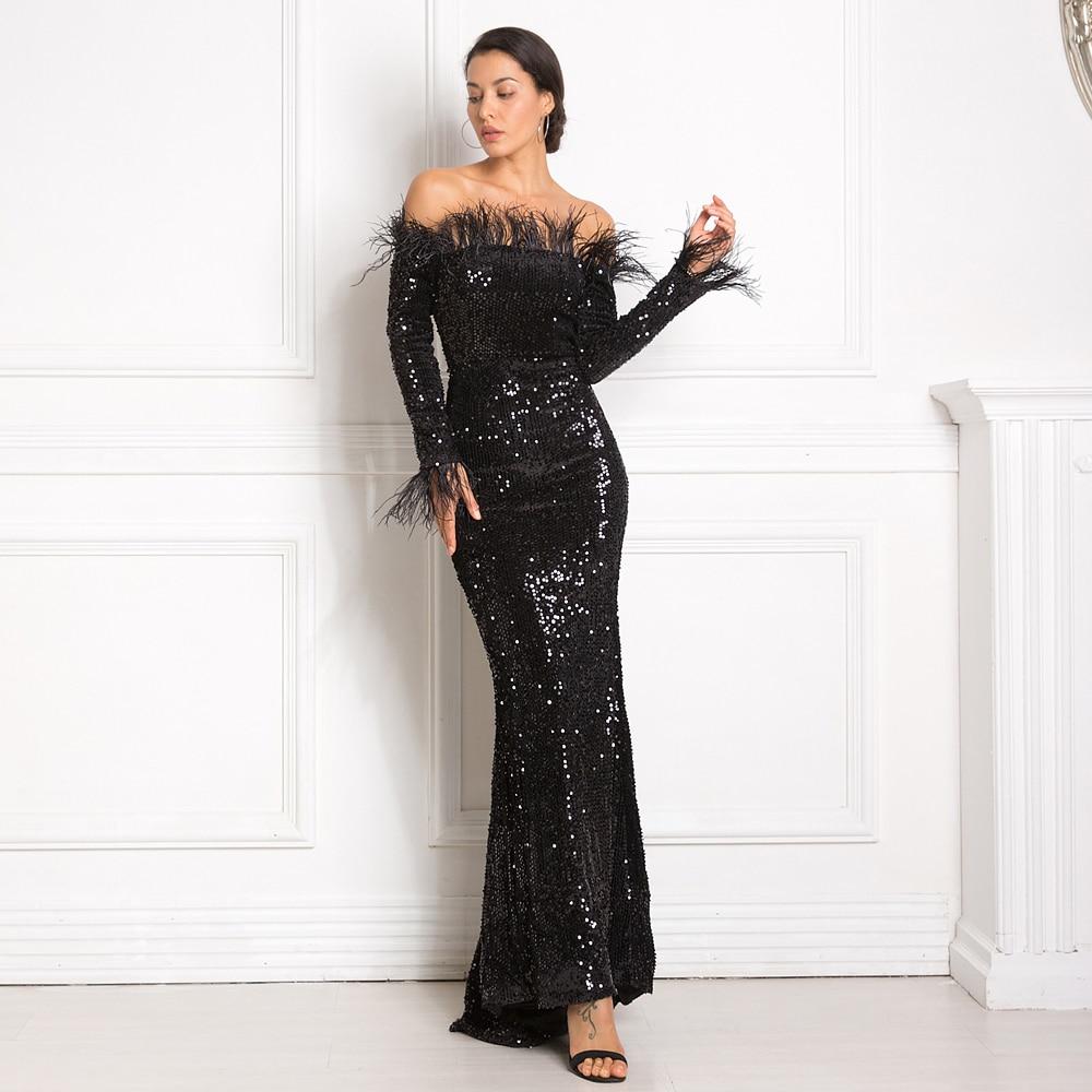 Black Burgundy Shiny Sequin Party Dress Feather Long Sleeve Floor Length Dress Slash Neck Stretchy Lining Tight Night Dress