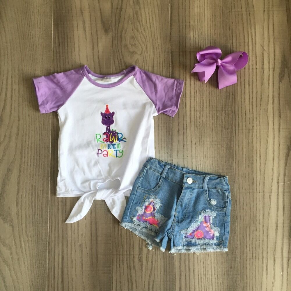 baby girls clothes girl summer party outfits jeans shorts girls dinosaur shirt matching bow 1