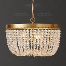 Vintage Gold chandelier lighting K9 crystal bead suspension chandelier retro hanging lights living room bedroom kitchen dining