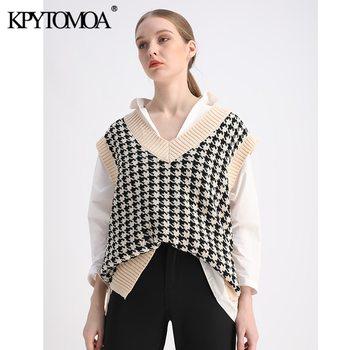 KPYTOMOA Women 2020 Fashion Oversized Houndstooth Knitted Vest Sweater Vintage Sleeveless Side Vents Female Waistcoat Chic Tops