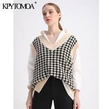 Женский трикотажный жилет kpytomoa винтажный без рукавов с боковыми