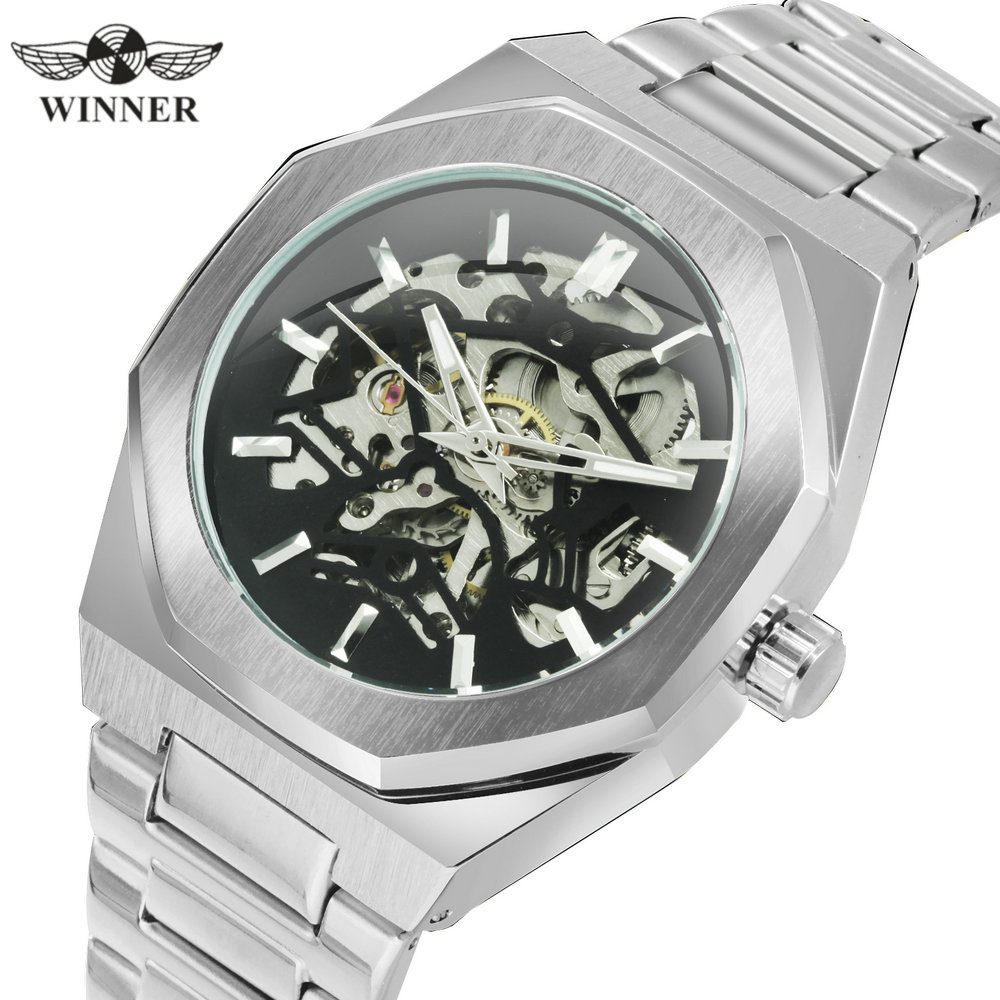 WINNER Official Military Automatic Watch Men Skeleton Mechanical Wrist Watches Stainless Steel Strap Fashion Chic Relógio Clock