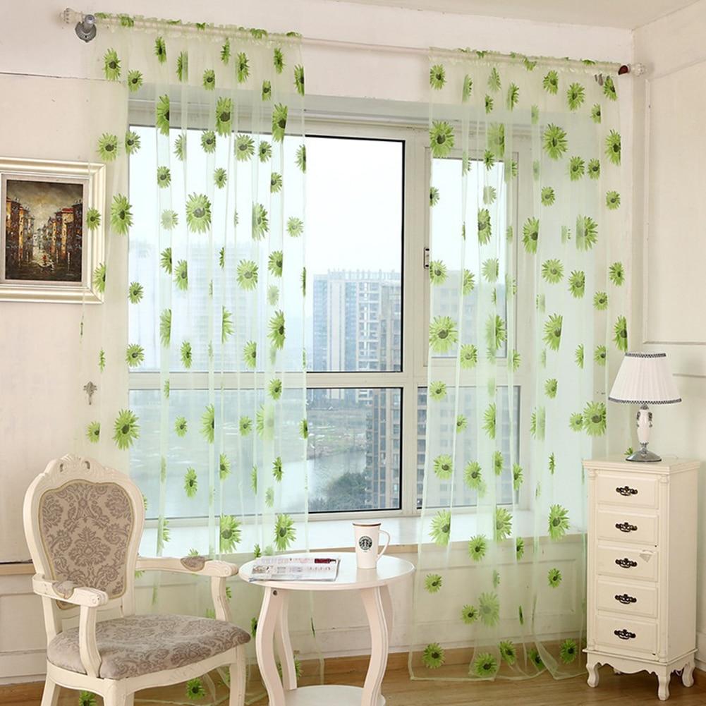 Sunflower Sheer Tulle Window Curtain Valance Door Room Divider Drape Decoration