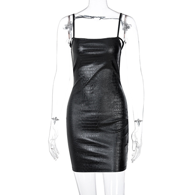 Sexy 2021New Backless Fashion Temperament Pu Woman Dress Sheath Solid Hollow Out Above Knee Mini Spring 8
