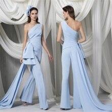 Designer Jumpsuit  Evening Dresses One Shoulder Custom Made Formal Dress Sweep Train Gorgeous Party Dress