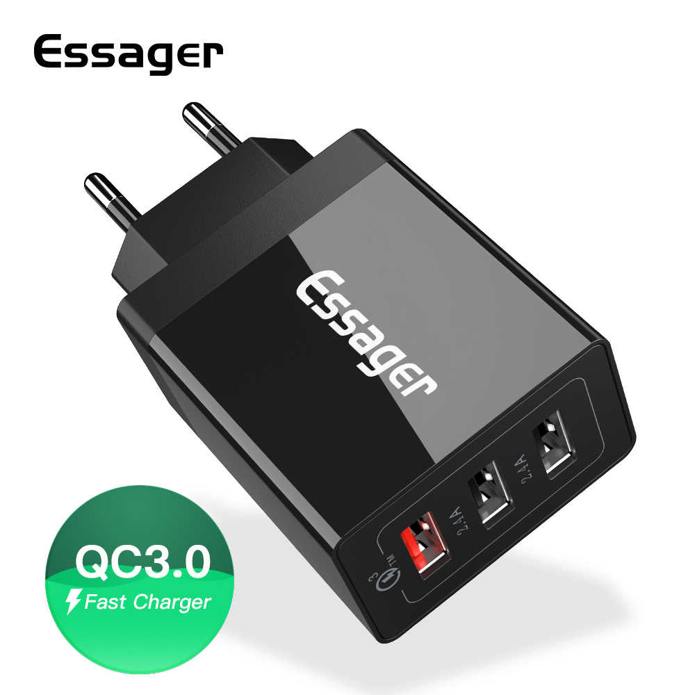Essager 30W Quick Charge 3.0 USB Charger QC3.0 QC Snelle Oplader Multi Plug Muur Mobiele Telefoon Oplader voor iPhone samsung Xiao mi mi
