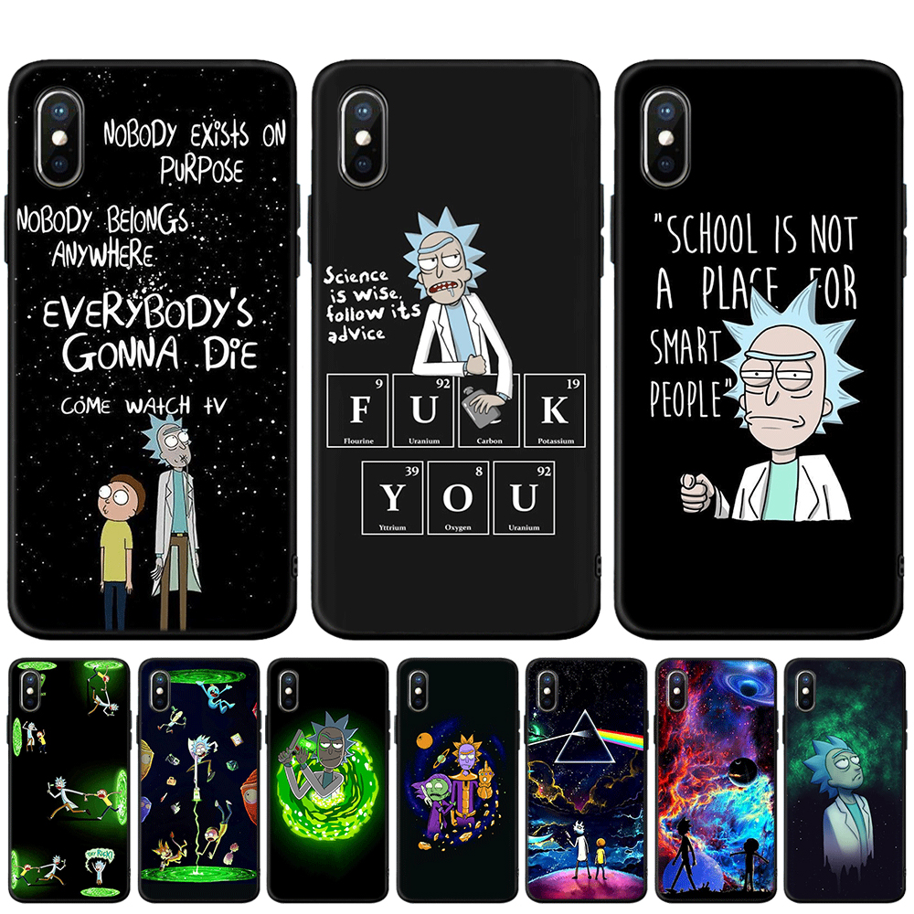 Anime Rick und Morty Cartoon Anime Telefon Fall Für <font><b>iPhone</b></font> 5S SE 6 6s 7 8 plus Weichen TPU Silikon Abdeckung Für <font><b>iPhone</b></font> <font><b>X</b></font> XR <font><b>XS</b></font> MAX Fall image