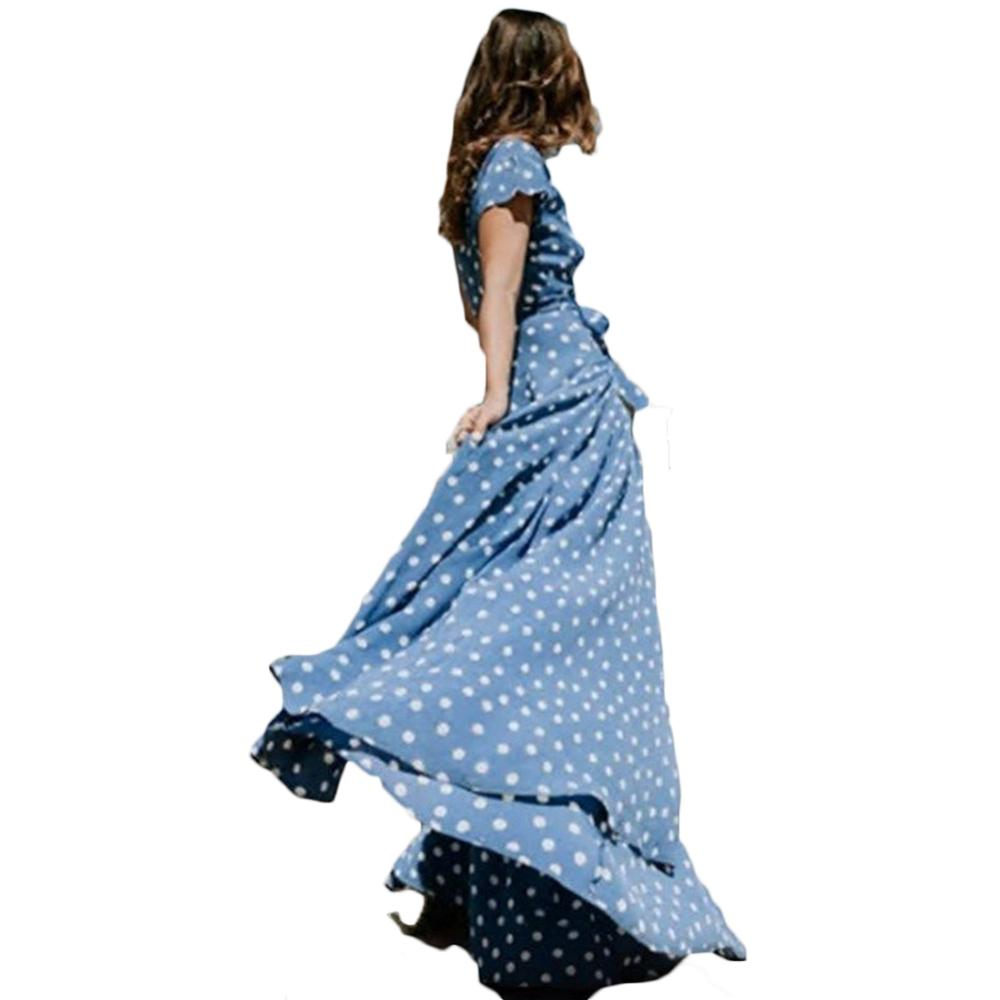 Red Dress New Fall Sexy Womens Holiday Polka Dots Slit Ladies Bohemian Sashes Maxi Long Sleeve High Split Printed Autumn Dress 6