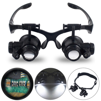 LED Head-mounted Magnifier 10X 15X 20X 25X Optical Lens Glass MagnifierGglass Double Eyes Magnifying Glasses Magnifier Lamp