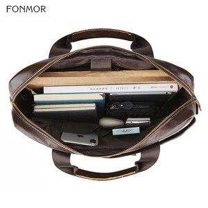 Image 5 - Fonmor Genuine Leather Briefcase Men Multilayer Laptop Bag Natural Cowhide Handbag For Man Messenger Shoulder Bags Crossbody Bag