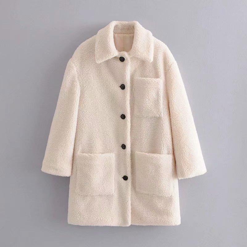 2019 Women Winter Coat Elegant Solid Lapel Loose Warm Female Thick Coat Blends  Ladies White Coat