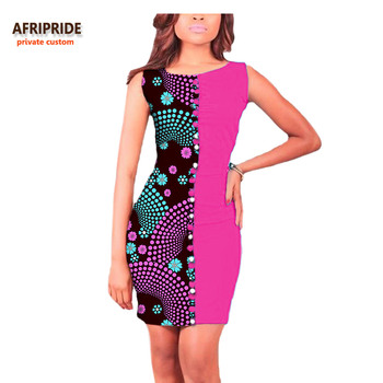 Vestido Afripride africano estampado Ankara lápiz para mujeres personalizado sin mangas mujeres vestido de algodón A722586