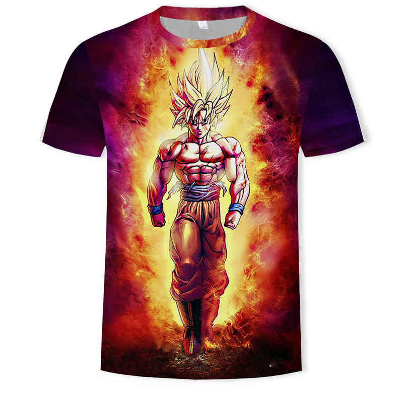 Nieuwe mannen 3D T-shirt Dragon Ball Z Ultra Instinct Goku Super Saiyan God Gele vlam Gedrukt Cartoon Zomer T-shirt 5XL Code