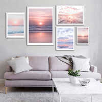Decoración nórdica de paisaje marino, pintura con imagen de decoración para la sala de estar y el hogar
