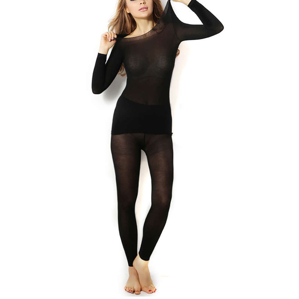 Sexy Women Winter Seamless Elastic Stretch Thermal Inner Wear Solid Color Thermal Underwear Sets Soft Long Johns (Top & Bottom)