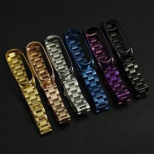 Image 3 - ミバンド5ストラップ金属リストバンドブレスレットmi曲げ4ベルトxiaomi correas miband 3 pulseira腕時計スマートアクセサリー