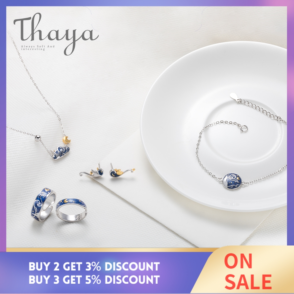 Thaya Van Gogh 39 s Fine Jewelry Set Genuine s925 Silver Ring Enamel Necklace Bracelet Earrings Stud for Women Romantic Gift in Jewelry Sets from Jewelry amp Accessories