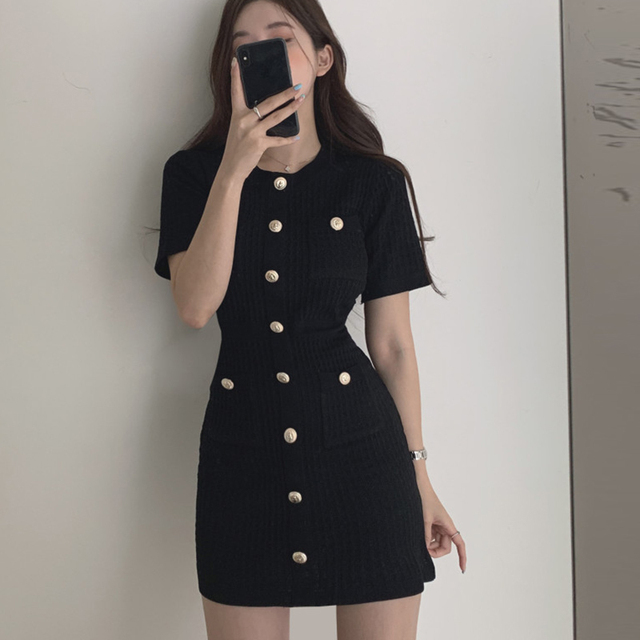Button Knitted Dress Bodycon Mini Vestido club Korean Summer Sexy Party Elegant Black 2020 Casual Sweater Dress Robes Clothes 6