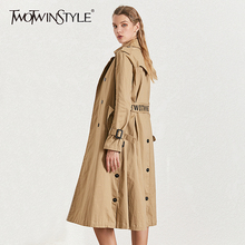TWOTWINSTYLE Autumn Women's Windbreaker Lapel Collar Long Sleeve Double Breasted With Sashes Trench Coat Female Fashion 2019 New lapel collar adjustable sleeve trench coat