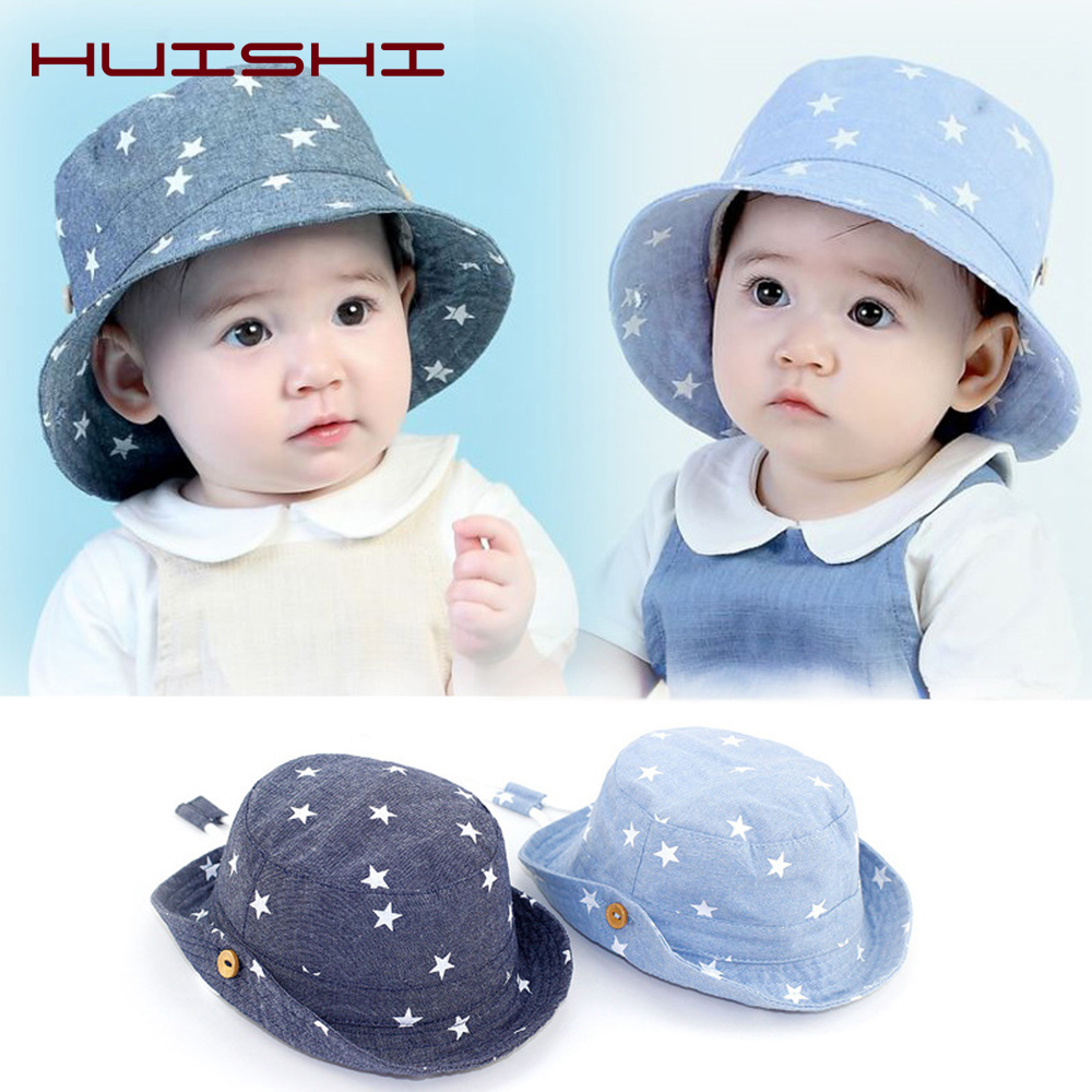 HUISHI Hat Children Summer Bucket Hats Kids Star Denim Cotton Sun Fisherman Caps For Girl Boys Toddler Caps Baby 3 To <font><b>12</b></font> months image