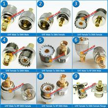 Kit Set UHF PL259 SO239 To SMA Connector Coax Socket UHF - SMA Brass Straight RF Coaxial Adapters