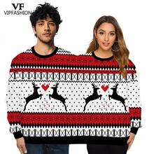 VIP FASHION Unisex Couples Pullover Two Person Sweatshirts Novelty Christmas Elk Snowflake Printed Ugly Funny