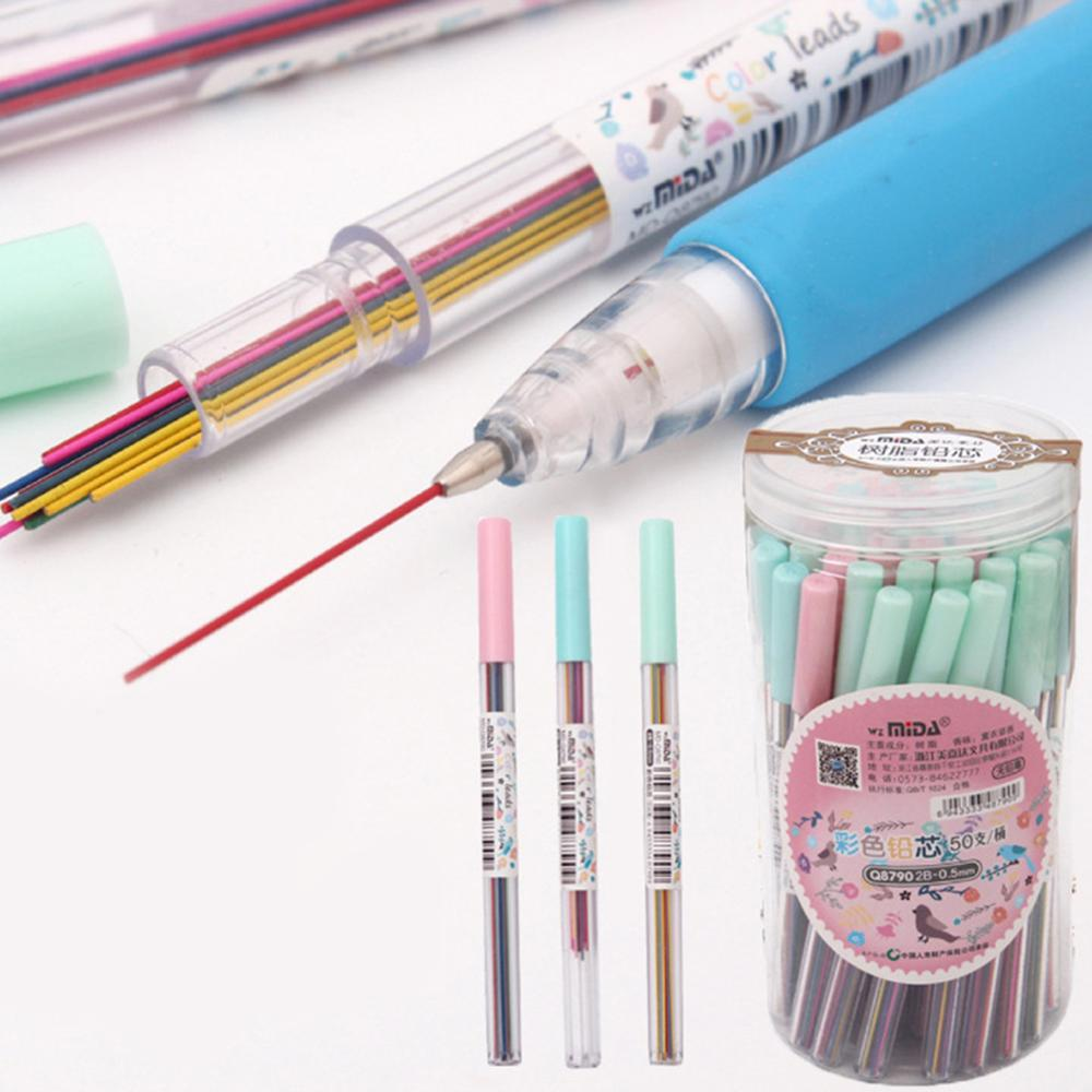 15Pcs/set 0.5 /0.7 Mm Colorful Mechanical Pencil Lead Art Sketch Drawing Color Automatic Pencil Lead Refills Ramdom Color 2B