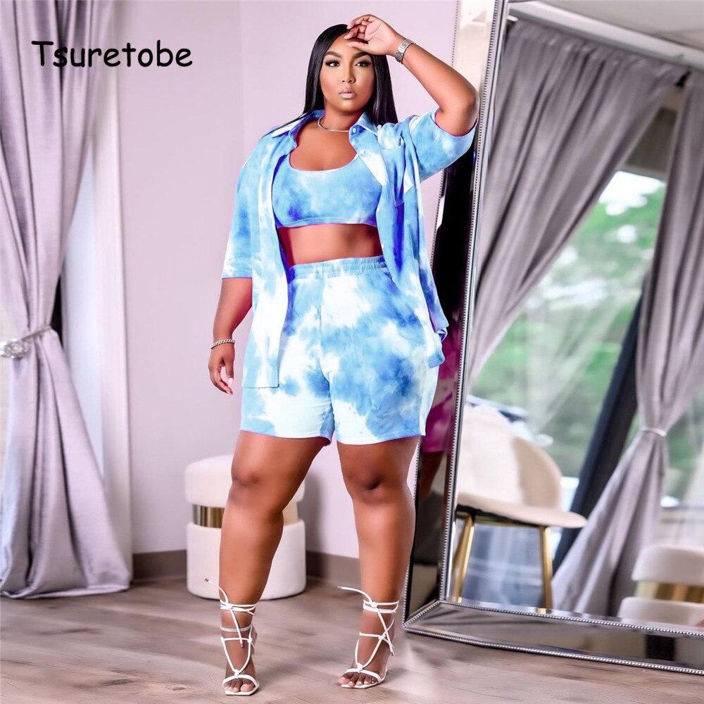 Tsuretobe Plus Size Tie-Dye Three Piece Set Women Cover Up Short Sleeve Coat And Crop Top+ High Waist Shorts Summer Matching Set
