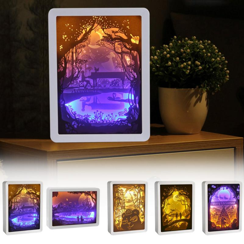 Night Light 3D Christmas Craft Holiday ABS Frame Atmosphere Lamp Paper Carving Birthday Gift Shadow Painting Decoration Led