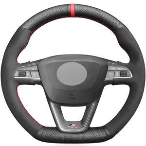 Black Suede Car Steering Wheel Cover For Seat Leon Cupra R Leon ST Cupra Leon ST Cupra Ateca Cupra Ateca FR(China)