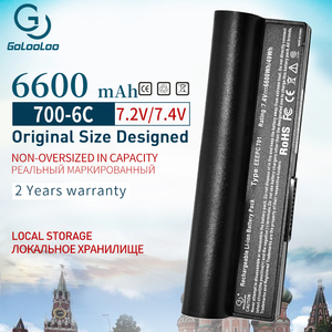 Image 1 - Golooloo 7,4 В 6600 мАч Новый аккумулятор для ноутбука Asus Eee PC 2G 4G 8G 900 700 701 90 OA001B1000, Аккумулятор для ноутбука, для Asus Eee PC, 2G, 4G, 8G, 900, 700, 701, 90 OA001B1000, для ноутбука, с, для ноутбука, для ноутбука, с,