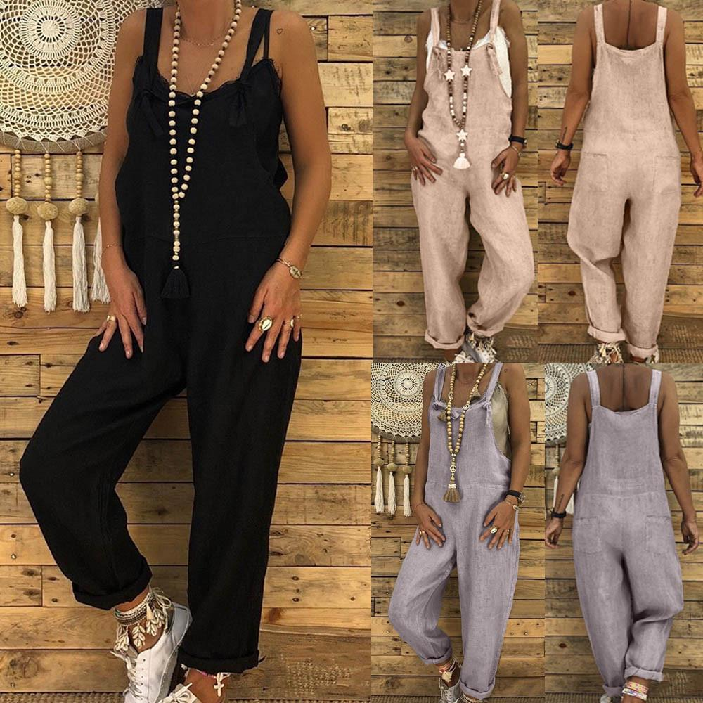Women Summer Strappy Jumpsuits Casual Loose Dungarees Harem Overalls Rompers Solid One Piece Jumpsuits Cotton Linen Long Pants