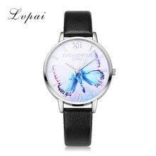 купить New Gold Butterfly Women Watches women's Brand Luxury Round Fashion Popular Wristwatch Female Quartz PU leather relogio feminino дешево