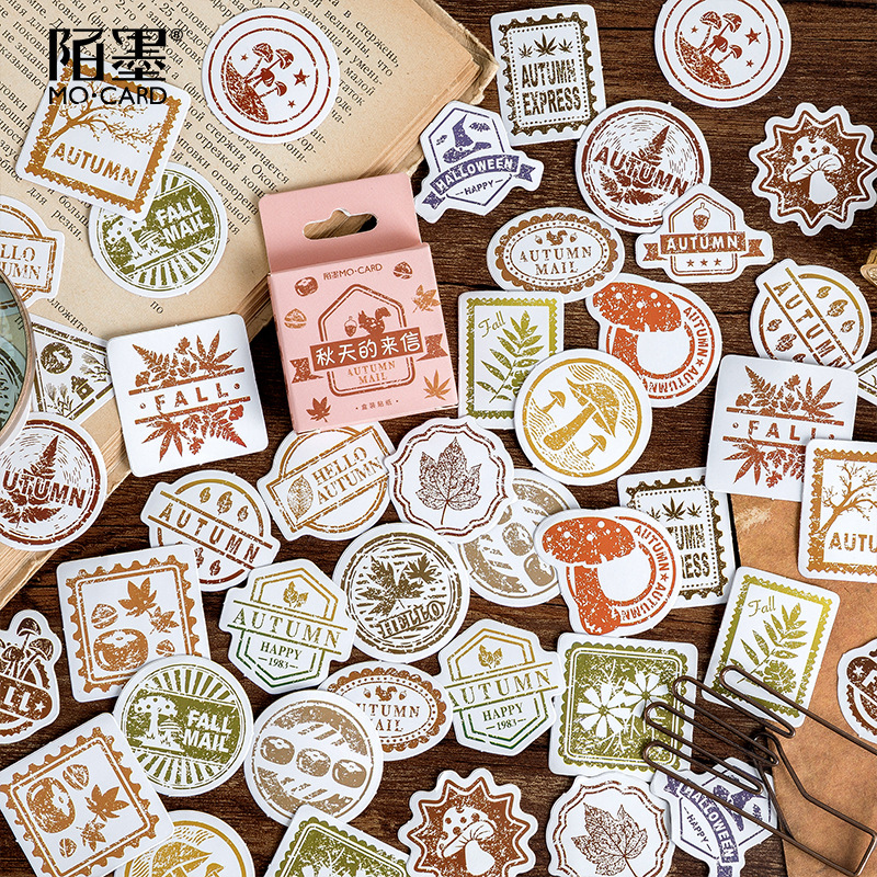 Mohamm 46PCS Boxed Sticker Autumn Letter Series Creative Decoration Sealing Sticker Flakes Scrapbooking Girl School Supplies Sta