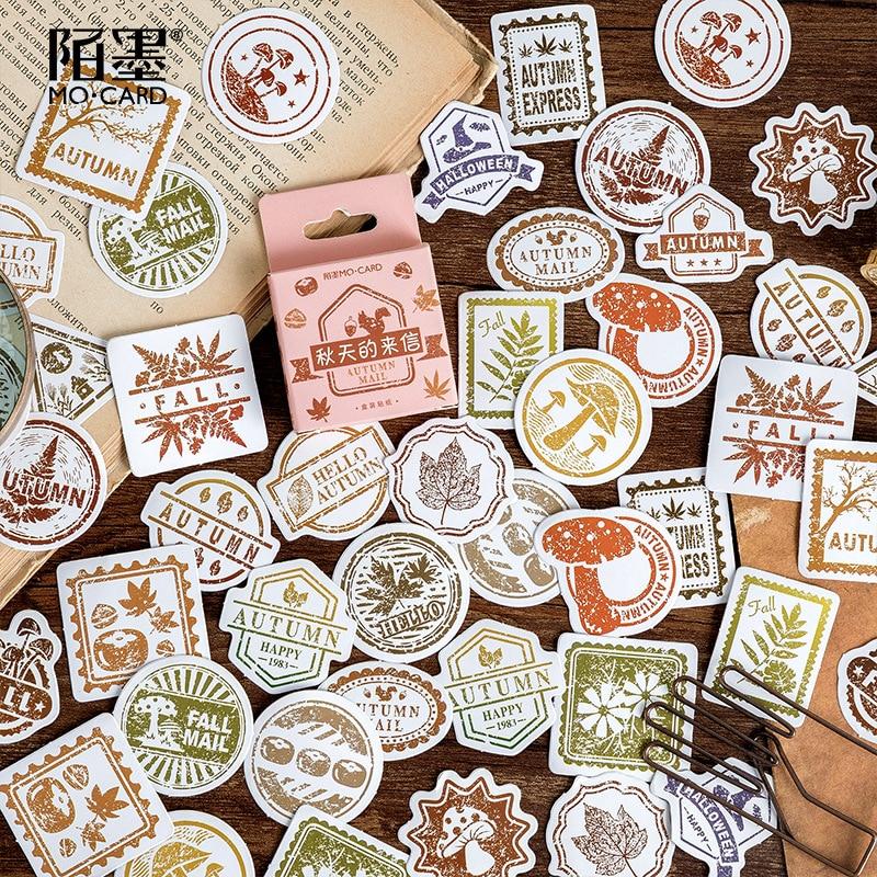 Mohamm 46PCS Boxed Sticker Autumn Letter Series Creative Decoration Sealing Sticker Flakes Scrapbooking Girl School Supplies Sta