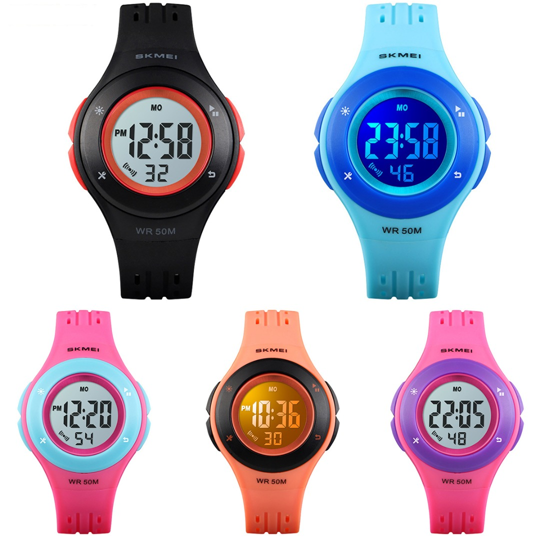 Child Waterproof Sport Watch LED Electronic Display Digital Watch Girl Date Alarm PU Watch Band Multifunctional Kids Watch