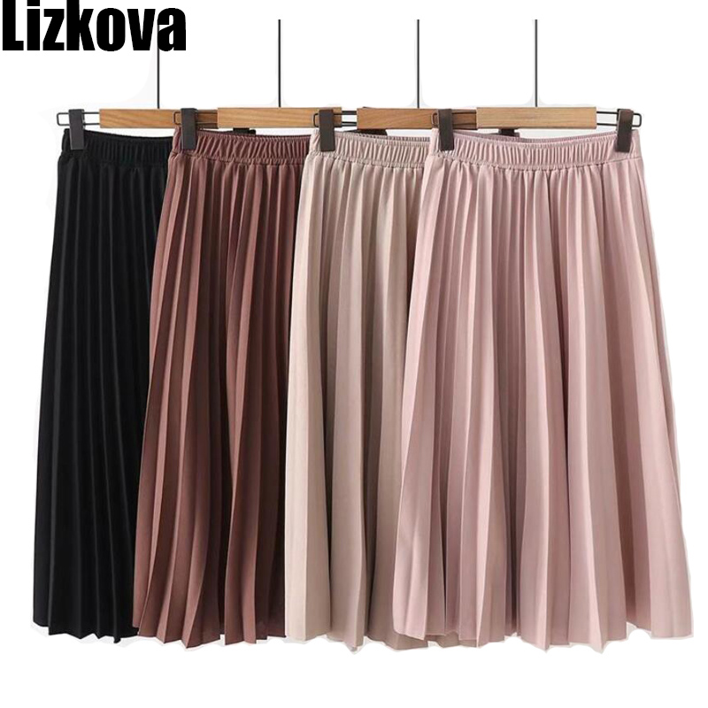 2020 Spring High Waist Pleated Skirt Women Black Causal Midi Skirts Plus Size Elastic Waist