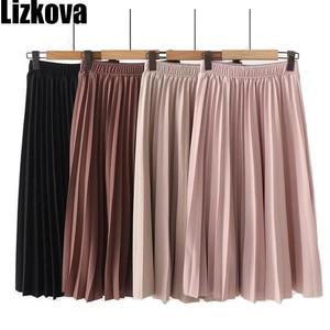 Image 1 - Lizkova ורוד קפלים חצאית נשים בתוספת גודל Midi Jupes 2020 חורף שחור אלסטי מותניים מזדמנים Fladas PYQ011