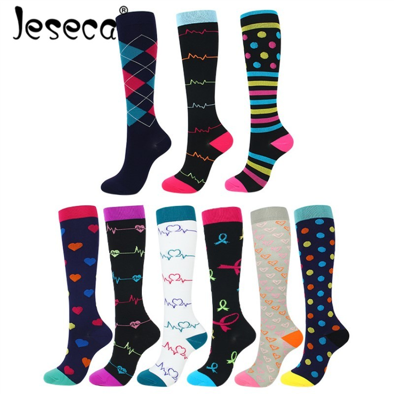 Jeseca New Women Long Stockings Thigh High Soxs Compression Stretch S/M/L/XL Outdoor Party Funny Elastic Nursing Calf Stocking