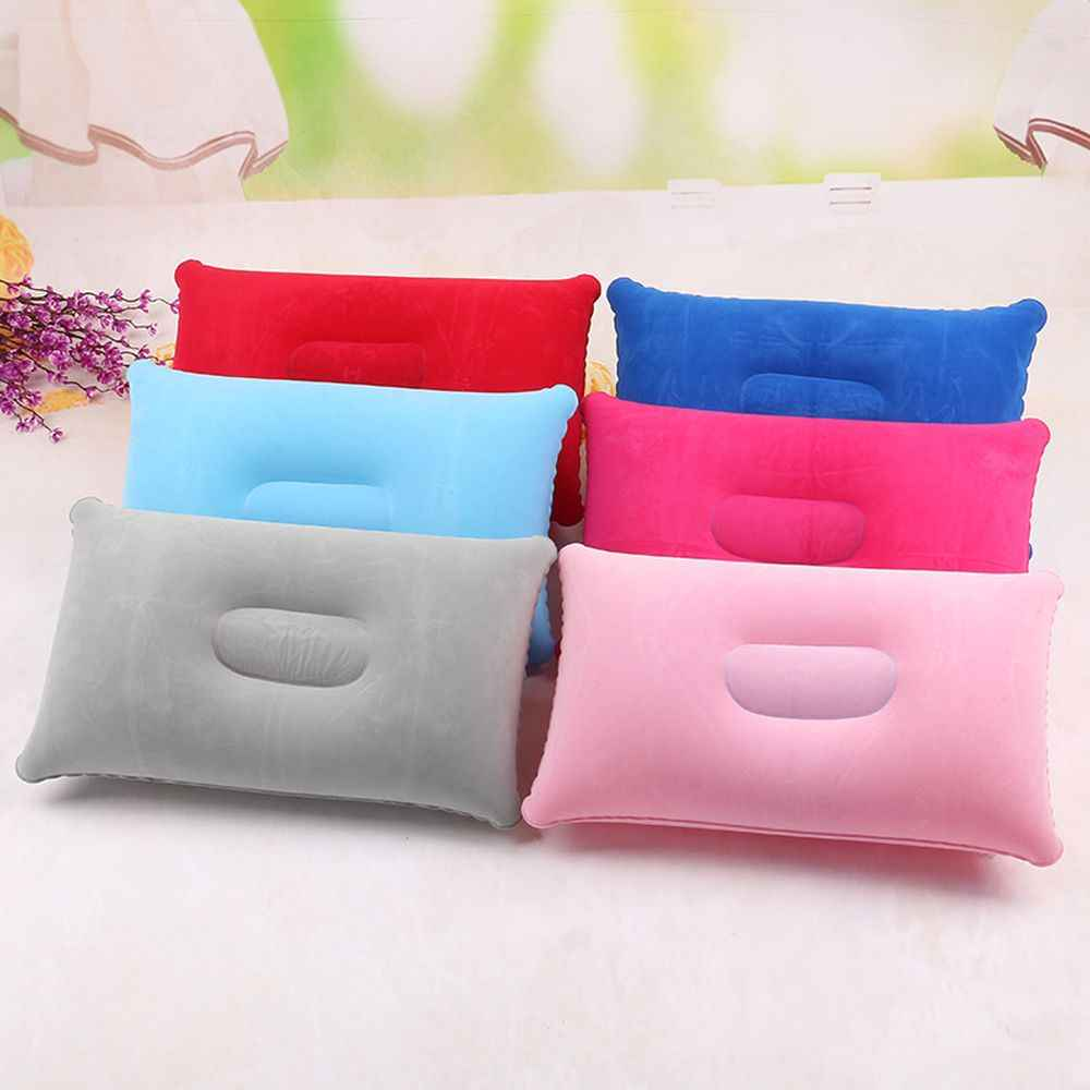Convenient Ultralight Inflatable PVC Nylon Air Pillow Sleep Cushion Travel Bedroom Hiking Beach Car Plane Head Rest Support