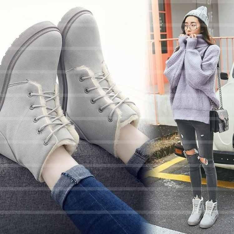 คู่รองเท้าผู้หญิง 2019 ฤดูหนาวรองเท้าผู้หญิงรองเท้าผู้ชายรองเท้าขนาดใหญ่ Plush ภายใน Botas Mujer กันน้ำออสเตรเลียรองเท้าบู๊ทหญิง Booties