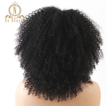 150% Density Afro Kinky Curly Lace Front Wigs Pre Plucked With Bangs 13x4 Lace Human Remy Hair Wigs For Black Women Na beauty 4