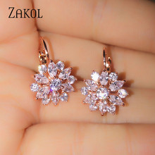 ZAKOL Fashion Rose Gold Color Hoop Earrings Flower Cluster Clear Crystal Zirconia Earring for Women Jewelry Brincos FSEP609