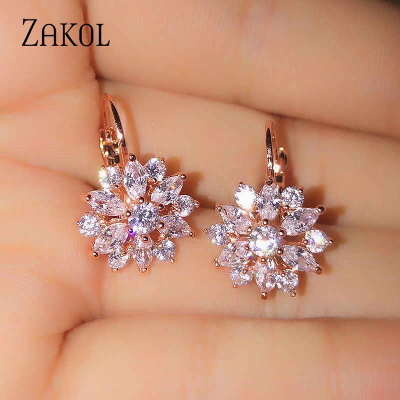 ZAKOL Fashion Rose Emas Warna Anting Anting-Anting Bunga Cluster Jelas Zirconia Anting-Anting untuk Wanita Perhiasan Brincos FSEP609