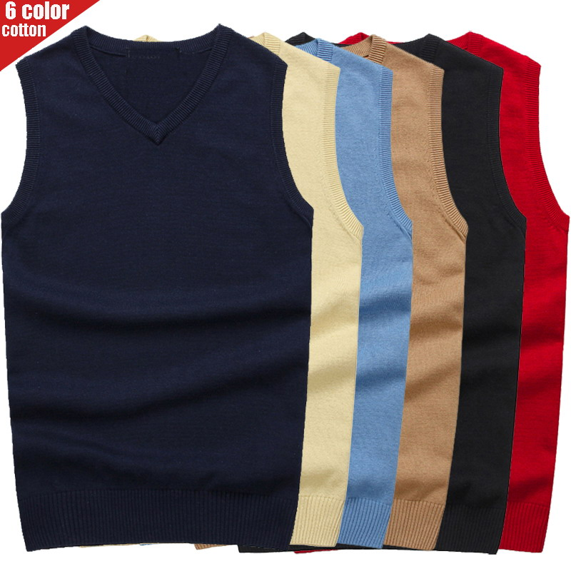 Men's Pullover V-neck 100% Cotton Solid Color Sweater Vests  2019 Autumn And Winter New Casual Sweater For Homme M-3XL