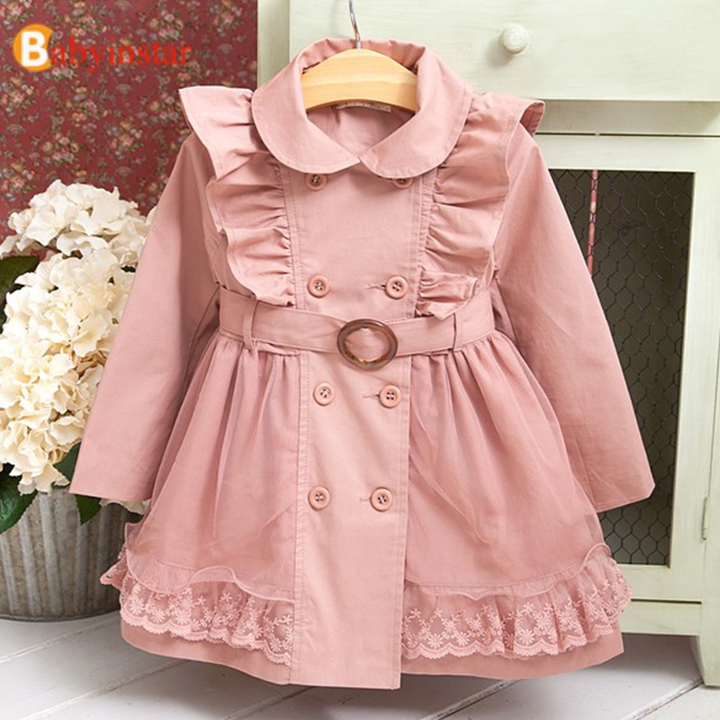 Hot 2-12Y Children Jackets   Trench   Coats For Girls Brand Jackets Coats Cute Lace Cotton Kids   Trench   Coat Baby Jacket For Girls
