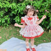 Summer Spanish Palace retro Lolita Girls princess dress Lace stitching red ball gown birthday party Easter dress for girls Y3144