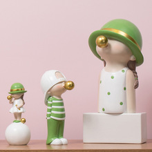 ARTLOVIN Nordic Style Character Figurines Kids Model Blowing Bubble Gum Statue For Living Room Decoration Modern Home Decoration